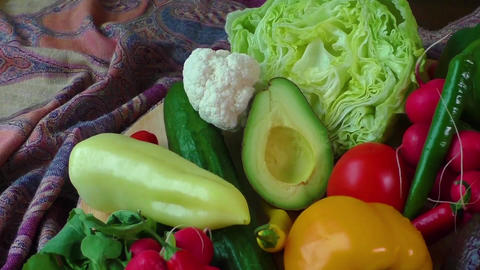 Still life with various fresh organic vegetables. Healthy food Live Action