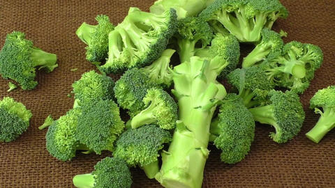 Fresh broccoli on the table. Healthy food Live Action