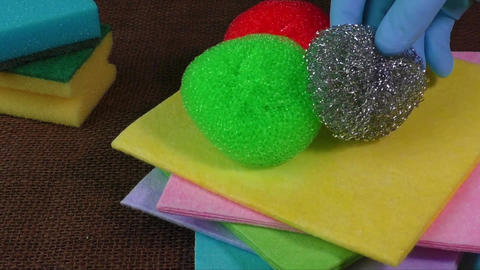 Sponges for dish washing and cleaning wipes Footage