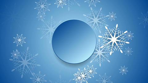 Blue Christmas snowflakes and blank circle video clip Animation