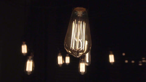 Light Bulb Isolated Filament Glow Slow Flashing Footage