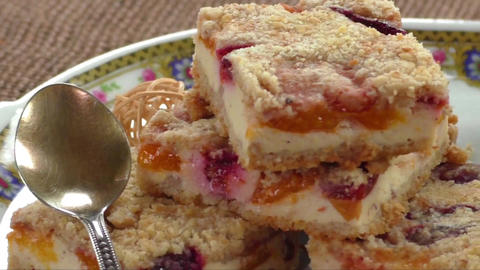 Homemade seasonal fruity pie with crumble. Healthy breakfast Live Action