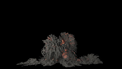 Close-up of a powerful explosion. An explosion with thick smoke on an isolated black background with 動畫