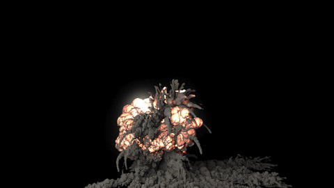 A powerful explosion with black smoke. An explosion with thick smoke on an isolated black background Animation