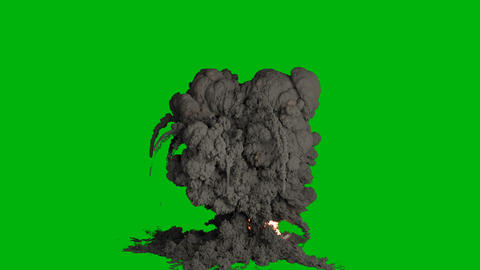 A powerful explosion with black smoke. An explosion with thick smoke, a fire and a bomb explosion, 動畫