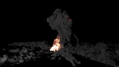 Close-up of explosion and fire. Explosion with thick smoke on an isolated black background with an Animation