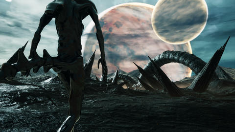An alien walks on his amazing planet. Landscape of an creepy alien planet in the lost space. Animation