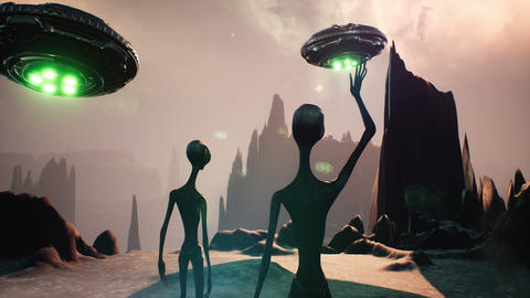 The alien greets his spaceships with a wave of his hand. Animation for fantasy, science fiction or Animation