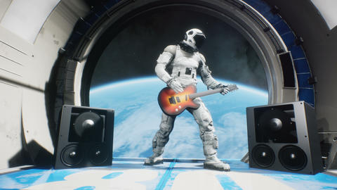 Astronaut on a spaceship playing guitar space rock n roll. Looping animation is designed for Animation