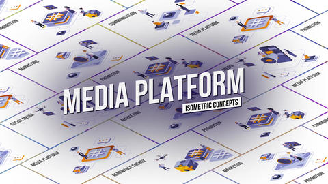 Media platform - Isometric Concept After Effects Template
