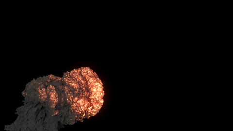 The explosion of the fuel with a thick black billowing smoke. An explosion with black smoke on an Animation