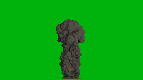An explosion with black, thick, billowing smoke. Explosion with black smoke, fuel explosion. VFX Animation