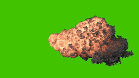 Explosion of explosive or shot out of a cannon weapon with a black swirling smoke. Explosion with 動畫
