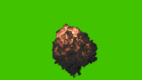 A explosion of explosives with black smoke. An explosion with thick smoke, a bomb explosion, real 動畫
