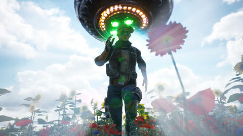 An alien spaceship chases a man running through a flower field. Animation for science fiction, Animation