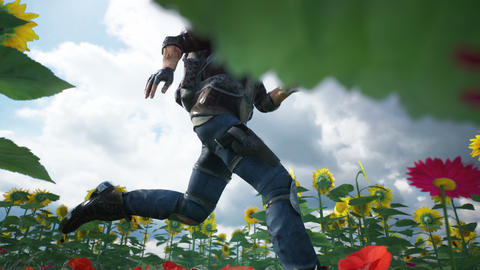 A young man runs from danger on a flower field. Looping animation 動畫