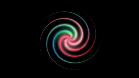 The colored ball spins and stops like a rainbow colored star on black background Live Action