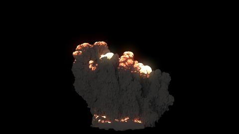 A giant explosion of combustible fuel with thick black smoke. An explosion with black smoke on an Animation