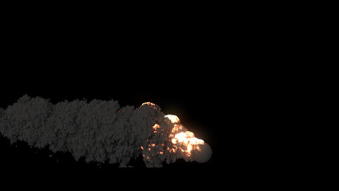 Burning fuel with thick black smoke. A fire with black smoke on an isolated background with an alpha Animation
