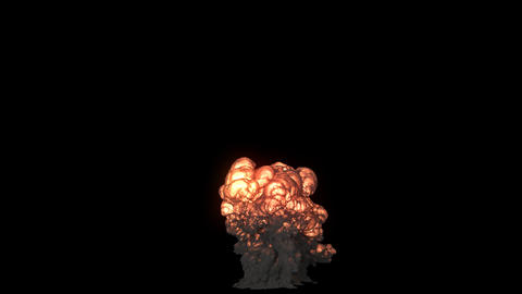 A big nuclear explosion with a lot of black smoke. An explosion with black smoke on an isolated Animation
