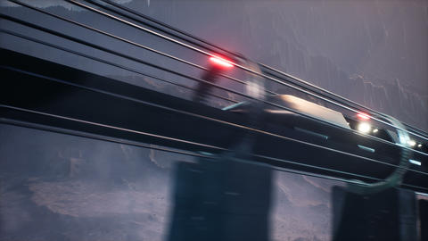 An alien train at high speed sweeps over a deserted foggy planet. Animation for fiction, futuristic Animation