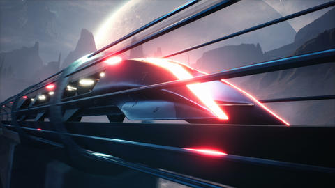 Futuristic train at high speed rushes over an alien planet. Animation for fiction Animation