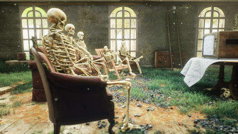 An abandoned horror house with skeletons sitting on the couch and watching old TV Animation
