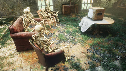A ruined and overgrown horror house with skeletons sitting in chairs and watching an old TV Animation