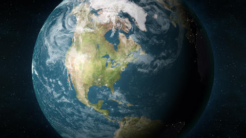 Animation of planet Earth, zooming in New York City, New York, USA Animation
