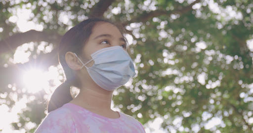 Slow Motion Portrait Of Asian Girl Wearing Medical Face Mask Standing Outside Live Action