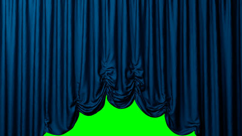 The Austrian red blue curtain opens and closes. The end and the beginning on the theater stage. blue Live Action