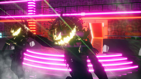 Fiery creepy dancing in a neon club during the Halloween holiday. Seamless looping animation for Animation