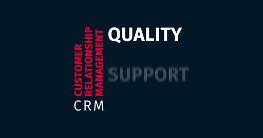 CRM Customer Relationship Management. Kinetic Typography. Word Cloud Text Intro Animation