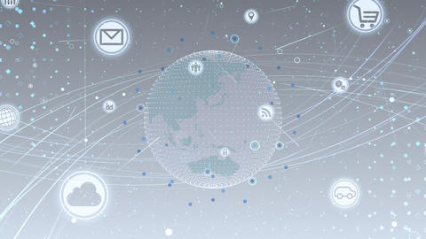 Technology Icon Network World Internet Digital devices on space Earth background 7M N2W 動畫