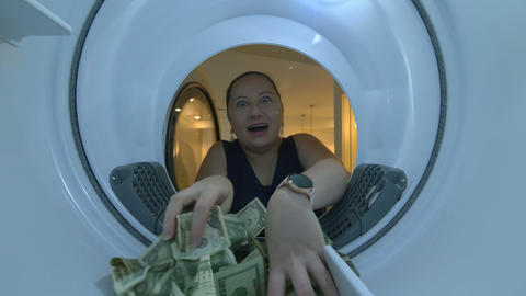 Rich Beautiful Woman Taking Dollars 4K Slow motion 60fps Live Action