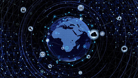 Technology Icon Network World Internet Digital devices on space Earth background 7R J2BS 動畫