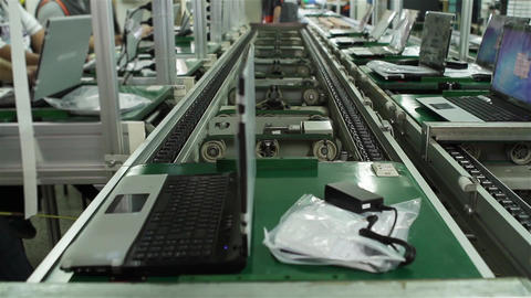 Production Line In A Computer Factory Footage