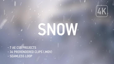 4K Realistic Snow - 36 Clips + AE CS5 After Effects Project