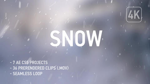 4K Realistic Snow - 36 Clips + AE CS5 After Effects Template