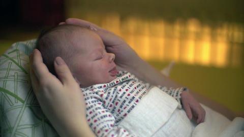 Sleeping Newborn Baby Smiling Footage