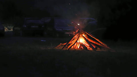Camp Fire in the Night Footage