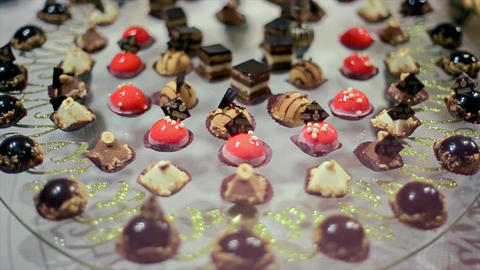 Wedding Celebration Glass Transparent Plate Sweets Footage