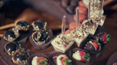 Wedding Celebration Brown Table Sweets Footage