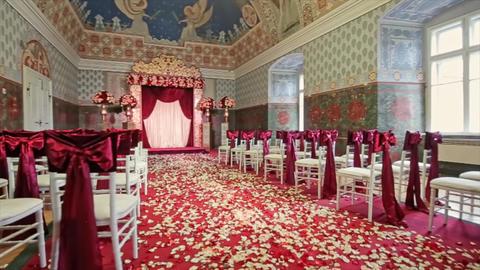 Beautiful Fabric Bow on Chair Wedding Decoration Footage