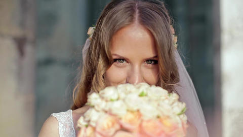 Happy Bride Smell Flowers Footage