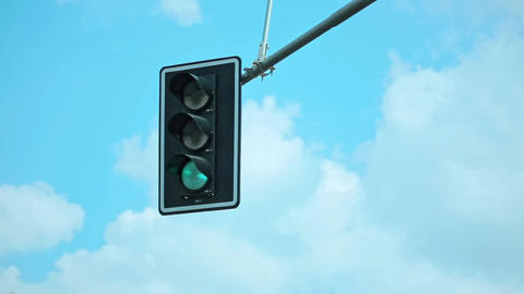 Traffic Light with a Beautiful Blue Sky Footage
