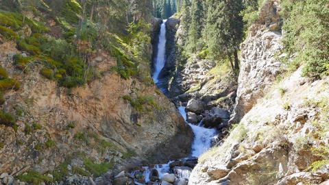 Waterfall Tears Leopard (Barsa), Barskoon gorge, Issyk Kul region, Kyrgyzstan Footage