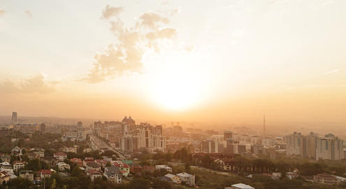 Sunset over Almaty. ave. Abay. View from Kok-Tobe. Kazakhstan Footage