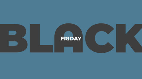 Animation intro text Black Friday on blue fashion and minimalism background Animation
