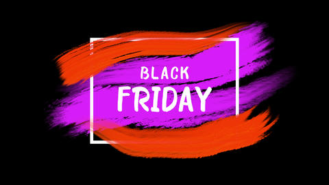 Animation intro text Black Friday on red and purple fashion and brush background Animation